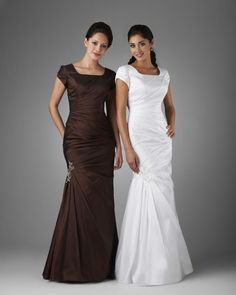 Tawney from Totally Modest.  Outsmart the price rules: order a fancy bridesmaid's dress in white.