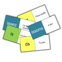 Pour l'aide personnalisée, j'ai repris le principe d'un jeu de domino pour travailler les terminaisons des verbes du 2e et 3e groupe au présent. Certains de mes élèves avaient du mal à faire la...