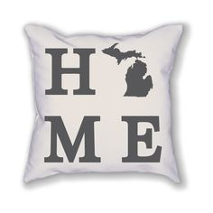 "The Michigan Home State Pillow is an 18""x18"" pillow showing off the place you call home! The pillow is already stuffed and ready to be displayed in your home."