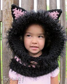 CROCHET PATTERN  The Cat's Meow  chunky crochet hooded
