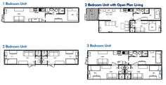 Selection of one, two, and three Bedroom Shipping Container Home Floor Plans