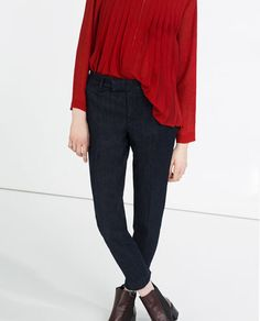 Image 2 of CHINO STYLE MID-RISE JEANS from Zara