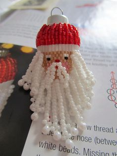 https://flic.kr/p/8YvHSP | Father Christmas Bauble | Really cute little design by Karen Collins-Williams.  You can find the design in The Winter Sparkle special edition of UK Bead Magazine.