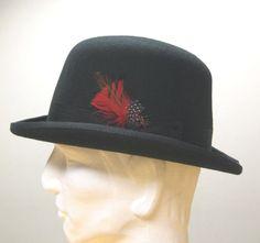 Basic Bowler Derby Steampunk Streetworthy Lined Felt Hat Adult S M L XL Black- $49.95
