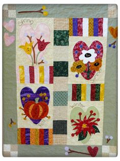 Four Seasons Heart Quilt PDF Pattern - wallhanging email pumpkin tulip poinsetta primitive embroidery