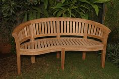 Anderson Teak - No Cushion Curve 3 Seater Extra Thick Wood Bench Teak Garden Bench, Teak Garden Furniture, Outdoor Living Furniture, Diy Furniture Plans, Furniture Removal, Pallet Furniture, Curved Bench, Thing 1, Diy Patio