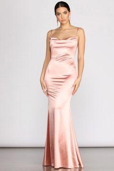Chantel Cowl Back Satin Dress – Windsor Satin Formal Dress, Pink Satin Dress, Satin Dresses, Windsor Dresses Prom, Corset Dresses, Chiffon Dresses, Silk Bridesmaid Dresses, Cute Prom Dresses, Pretty Dresses