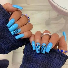 There are many kinds of blue nail art designs, which are also one of the most popular nail colors. In previous articles, we have introduced the art design of Dark Blue Nails, Navy Blue Nails and Blue Sparkle Nails, which are welcomed by women. In thi Blue Acrylic Nails, Summer Acrylic Nails, Acrylic Nail Designs, Nail Art Designs, Blue Nails Art, Blue Art, Baby Blue Nails, Light Blue Nails, Coffin Nails Long