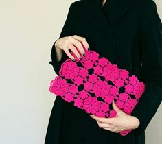 """""""Deep pink lace clutch - large black, neon fashion, fluorescent, vintage upcycled, large purse, hand painted accessory OOAK"""" https://sumally.com/p/382723?object_id=ref%3AkwHNPvaBoXDOAAXXAw%3A96SJ"""