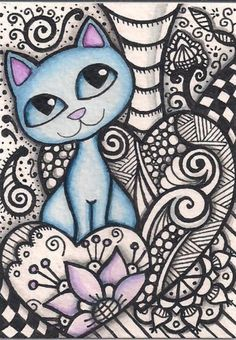 ACEO-Blue-Cat-in-Zentangle-Original-Art