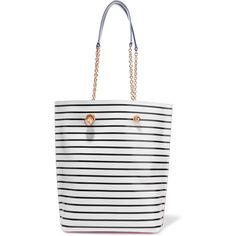 Sophia Webster Izzy leather-trimmed striped PVC tote ($390) ❤ liked on Polyvore featuring bags, handbags, tote bags, white, white purse, white hand bags, stripe tote, striped tote and hand bags