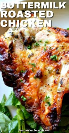 *NEW* Not just for the fryer — Buttermilk Roasted Chicken is here to bring you all the delicious flavors with none of the messy greases! #ChickenRecipes #Roasted #RoastedChicken Oven Roasted Chicken, Roast Chicken Recipes, Turkey Recipes, Meat Recipes, Dinner Recipes, Cooking Recipes, Healthy Recipes, Game Recipes, Fried Chicken