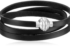Bracelet featuring 22.5″ leather wrap band and magnetic sterling silver clasp, Imported