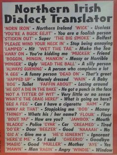 kirstyemilymartin: being irish! Norn iron dialect translation