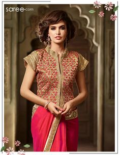 Pink Silk Saree with Lace Work - 5