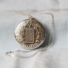 TARDIS locket necklace the Doctor's time/space ship jewelry