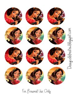 Elena Of Avalor Cupcake Toppers Disney Princess Cupcakes, Princess Theme, Bottle Cap Images, Bottle Caps, Diy Home Crafts, Princesas Disney, Cupcake Toppers, Disney Pixar, Stickers