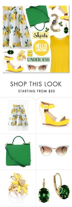 """""""Skirts Under $50 (Lemon print skirt+Color block sandals)"""" by anyasdesigns ❤ liked on Polyvore featuring Dolce&Gabbana, Gucci, Chanel, Kate Spade, Versace, under50 and skirtunder50"""