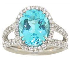 Paraiba Tourmaline Ring With Handmade Diamond Platinum Setting | From a unique collection of vintage cocktail rings at https://www.1stdibs.com/jewelry/rings/cocktail-rings/