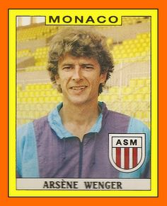An extremely young Arsene Wenger, managing AS Monaco. Football Stickers, Football Cards, Football Soccer, Football Boots, Neymar, Messi, As Monaco, Arsenal Football, Arsenal Fc