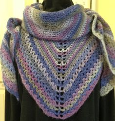 Crochet Wool Shawl with pretty border in by HandmadebyHeikeHeart