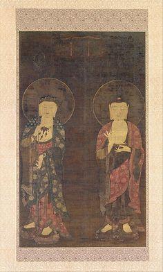 아미타불과 지장보살도           고려<br/>阿彌陀佛・地藏菩薩圖高麗<br/>Amitabha and Kshitigarba