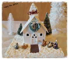 Vintage Inspired Putz House Shabby Chic White Christmas Snow Church, Nativity, Noel, Christmas Collectible, Original by SimplyTheGlitter on Etsy