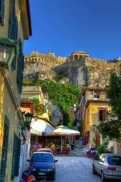 the picturesque neighbourhood of Plaka under the Acropolis, Athens , Greece