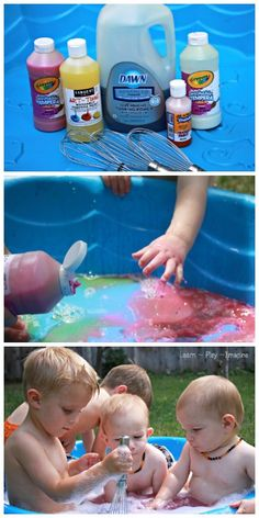 Simple sensory fun for summer with color and bubbles in the play pool, upcycling empty paint bottles!