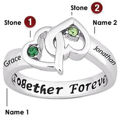 This sterling silver promise ring is set with two 1.75mm round Austrian crystals. Engrave up to 10 characters in each engraving area on top.