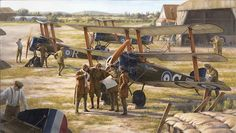"""Black Flight Brief depicts the famous Sopwith triplanes of Royal Naval Air Service 10 Squadron's """"Black Flight"""".  Naval 10 is perhaps best known for its use of the Triplane in combat. B Flight, or """"Black Flight"""" as it was more well known, was made up entirely of Canadian pilots and led by the legendary Raymond Collishaw. The flight become particularly iconic for its black-nosed triplanes, all of which bore the word """"Black"""" as part of their name."""