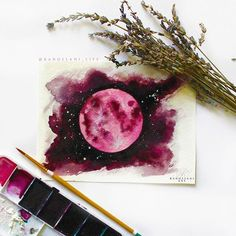 The blood moon! Strange times call for strange paintings! Did anyone in Az see that super moon last night?! ✨ . . . #art #instagram #instaartist #instaart #art #artwork #artist #artsy #artistsoninstagram #artislife #art_empire #art_we_inspire #art_collective #artgallery #painting #watercolor #watercolorpainting #fullmoon #supermoon #moon #nature #love #pink #space #spaceart #spacepainting #galaxy #stars #nightsky