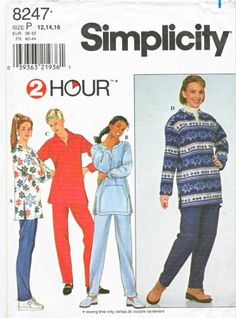 Simplicity Sewing Pattern 8247 Misses Sizes 12-16 2 hour Pullover Long Sleeve Tops Pants
