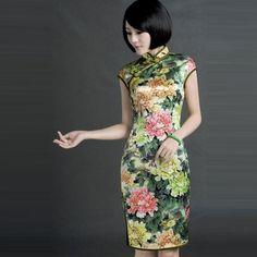 Elegant Cap-Sleeve Floral Qipao