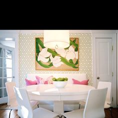 Kitchen Dining Table: E White Pink Green Fresh Nature Dining Room Scheme Banquette Seating Bench Oval Table Interior Tropical, Modern Tropical, Kitchen Ikea, Kitchen Nook, Kitchen Dining, Round Kitchen, Happy Kitchen, Kitchen White, Green Kitchen