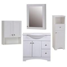 Del Mar Bath Suite with 36 in. Vanity, Vanity Top, Linen Tower, OJ, and Medicine Cabinet in White-BSDM36MCP4COM-W at The Home Depot