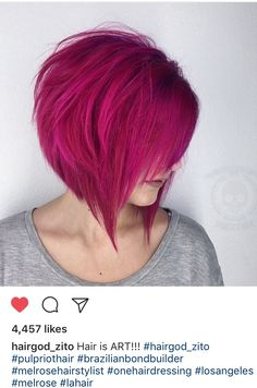 Pink, grown out pixie to bob