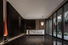 派尚设计 中奥上坤・诸暨・云锦东方售楼处-建e室内设计网-设计案例 Minimalism, Reception, Loft, Dark, Modern, House, Ideas, Design, Trendy Tree