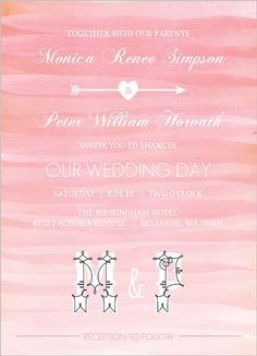 Soft Pink Watercolor Ombre Wedding Invitation from Invite Shop. This would be great for a ranch wedding! #rusticwedding #ranchwedding #rusticweddinginvitations #weddinginvitations