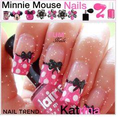 Cute bows and polka dots nail art nails ★ в 2019 г. nails, m Mickey Nails, Minnie Mouse Nails, Pink Minnie, Fancy Nails, Trendy Nails, Pink Nails, Disney Nail Designs, Pink Nail Designs, Nails Design
