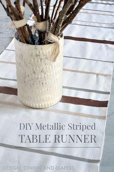 DIY Holiday Table Runner - love the metallic!