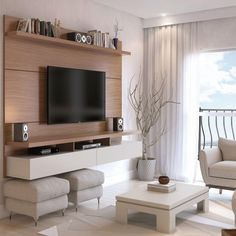 Manhattan Comfort City Floating Wall Theater Entertainment Center Maple Cream / Off White, TV Stands - Manhattan Comfort, Minimal & Modern - 1 Floating Entertainment Center, Entertainment Centers, Tv Panel, Muebles Living, Tv Wall Decor, Wall Tv, Floating Wall, Floating Shelves, Floating Tv Console