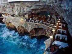 Oceanside restaurant in grotto in Italy