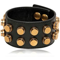 SAINT LAURENT Studded Leather Large Cuff Bracelet (¥58,610) ❤ liked on Polyvore featuring jewelry, bracelets, cuff bangle, snap button bracelet, gold tone jewelry, snap jewelry and bracelet bangle