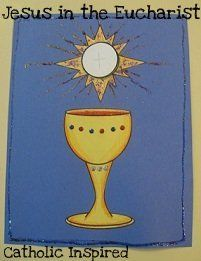Jesus in the Eucharist ~ Art Project ~ Catholic Inspired - host opens to reveal picture of Jesus