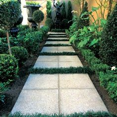Using 4 square pavers placed together, to create one large one.