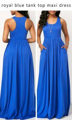 145207af78638 royal blue round neck tank top racerback maxi dress.  liligal  dresses   womenswear  womensfashion