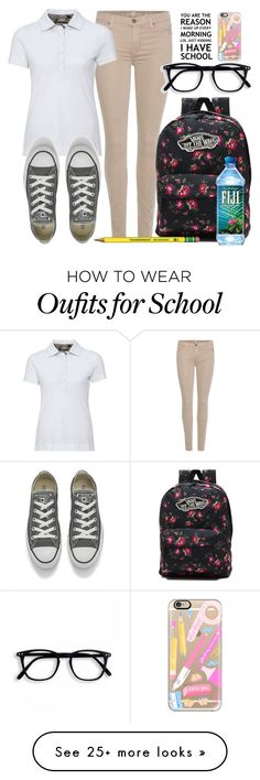 """""""School style"""" by carogamer on Polyvore featuring 7 For All Mankind, Barbour, Converse, Vans and Casetify"""