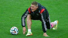 PORTO ALEGRE, BRAZIL - JUNE 30: Bastian Schweinsteiger of Germany warms up prior to the 2014 FIFA World Cup Brazil Round of 16 match between Germany and Algeria at Estadio Beira-Rio on June 30, 2014 in Porto Alegre, Brazil. (Photo by Clive Rose/Getty Images)