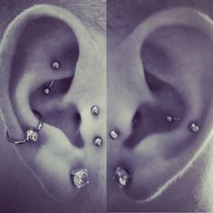 left: conch, took, vertical tragus. right: snug.
